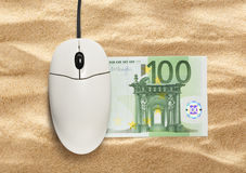 Computer mouse and one hundred euro banknote Royalty Free Stock Images