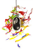 Computer mouse painting dynamical colorful trace on white Royalty Free Stock Photos