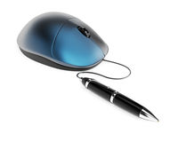 Computer mouse with pen Stock Photo
