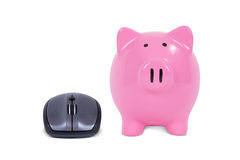 Computer Mouse with Piggy Bank Stock Photography