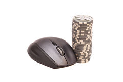Computer mouse and pile of gambling chips. Online internet casin Stock Image