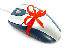 Computer mouse with red bow. On a white background Stock Image