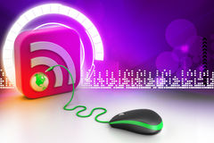 Computer mouse with RSS icon Royalty Free Stock Images