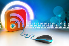Computer mouse with RSS icon royalty free illustration