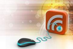 Computer mouse with RSS icon Stock Image