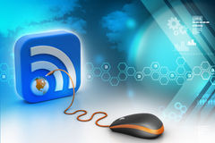 Computer mouse with RSS icon Stock Photos