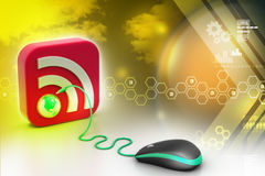 Computer mouse with RSS icon Royalty Free Stock Image