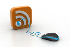 Computer mouse with RSS icon Royalty Free Stock Photos