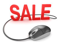 Computer mouse with sale text Royalty Free Stock Image