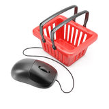 Computer mouse with shopping basket Royalty Free Stock Images