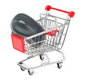 Computer mouse in shopping cart Stock Photography