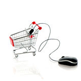 Computer mouse and shopping cart. Online market Royalty Free Stock Images