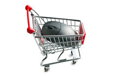 Computer mouse in shopping cart Stock Photo