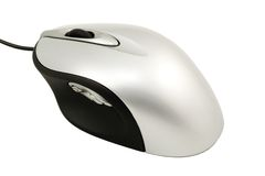 The computer mouse silvery Stock Photos