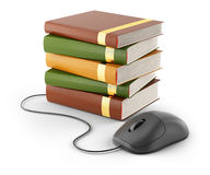 Computer mouse and stack of books stock illustration