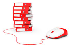 Computer Mouse with Stack of Red Achive Office Binders Royalty Free Stock Image