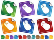 Computer Mouse Sticker Icons Stock Images
