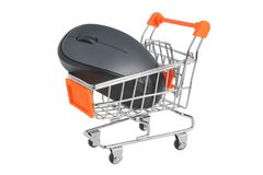 Computer mouse in supermarket pushcart isolated on Royalty Free Stock Image
