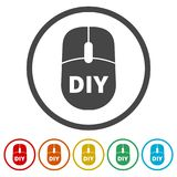 Computer mouse with the text DIY, Do it yourself icon, 6 Colors Included. Simple vector icons set Stock Images