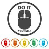 Computer mouse with the text DIY, Do it yourself icon, 6 Colors Included. Simple vector icons set Royalty Free Stock Photography