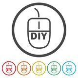 Computer mouse with the text DIY, Do it yourself icon, 6 Colors Included. Simple vector icons set Stock Photo
