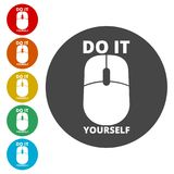 Computer mouse with the text DIY, Do it yourself icon. Simple  icons set Royalty Free Stock Images