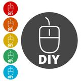 Computer mouse with the text DIY, Do it yourself icon. Simple vector icons set Stock Photo