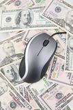 Computer Mouse and US Banknotes Stock Photo