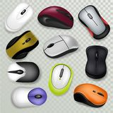 Computer mouse vector pc clicking device with buttons or scroll technology illustration set of realistic click optical Stock Illustration