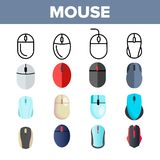 Computer Mouse Vector Thin Line Icons Set vector illustration