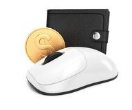 Computer mouse and wallet Stock Photography