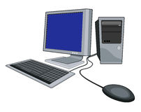 Computer with mouse white. Illustration of a computer system stock illustration