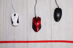 Computer mouse on a white background. Interactive race on speed between the red, white and black computer mouse on a wooden gray background. The input device for Royalty Free Stock Photos