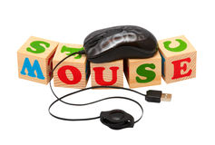 Computer Mouse Wooden Blocks Royalty Free Stock Images