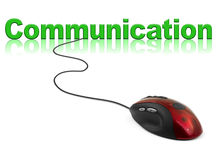 Computer mouse and word Communication. Technology concept vector illustration