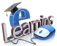 Computer mouse and word E-learning - education concept Stock Images