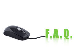 Computer mouse and word FAQ. Stock Photo