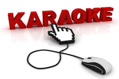 Computer mouse and the word Karaoke. 3d image renderer stock illustration