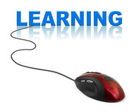 Computer mouse and word Learning Royalty Free Stock Image