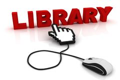 Computer mouse and the word Library. 3d image renderer royalty free illustration