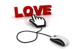 Computer mouse and the word Love. 3d image renderer royalty free illustration
