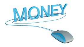 Computer mouse and word Money - business concept Royalty Free Stock Photos
