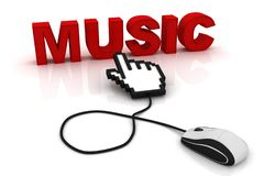 Computer mouse and the word Music. 3d image renderer vector illustration