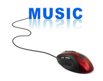Computer mouse and word Music. Internet concept Royalty Free Stock Images