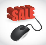 Computer mouse and word Sale illustration Stock Image