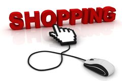 Computer mouse and the word Shopping. 3d image renderer stock illustration