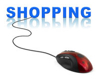 Computer mouse and word Shopping Royalty Free Stock Image