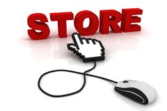 Computer mouse and the word Store. 3d image renderer vector illustration