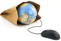 Computer mouse and a world globe Royalty Free Stock Images