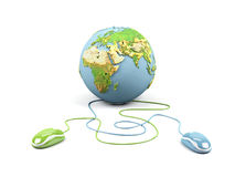 Computer mouses connected to a globe. Stock Photos
